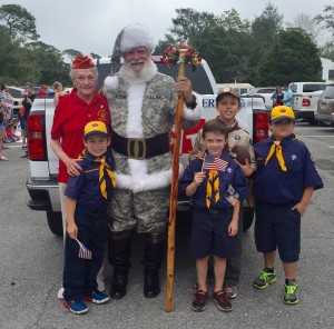 Santa and Scouts at the Fairhope Veterans Day Parade